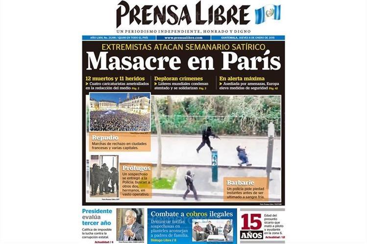 Portada de Prensa Libre del 8/1/2015 informa sobre los actos terroristas en París, Francia. (Foto: Hemeroteca PL)