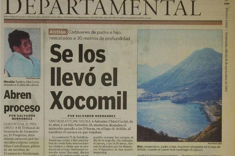 Un hombre y su hijo murieron ahogados en el Lago de Atitlán el 15 de noviembre del 2002. (Foto Hemeroteca PL)