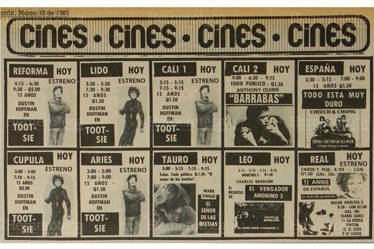 Películas clásica estrenadas en marzo de 1983 en las ya desaparecidas salas de cine. (Foto: Hemeroteca PL)