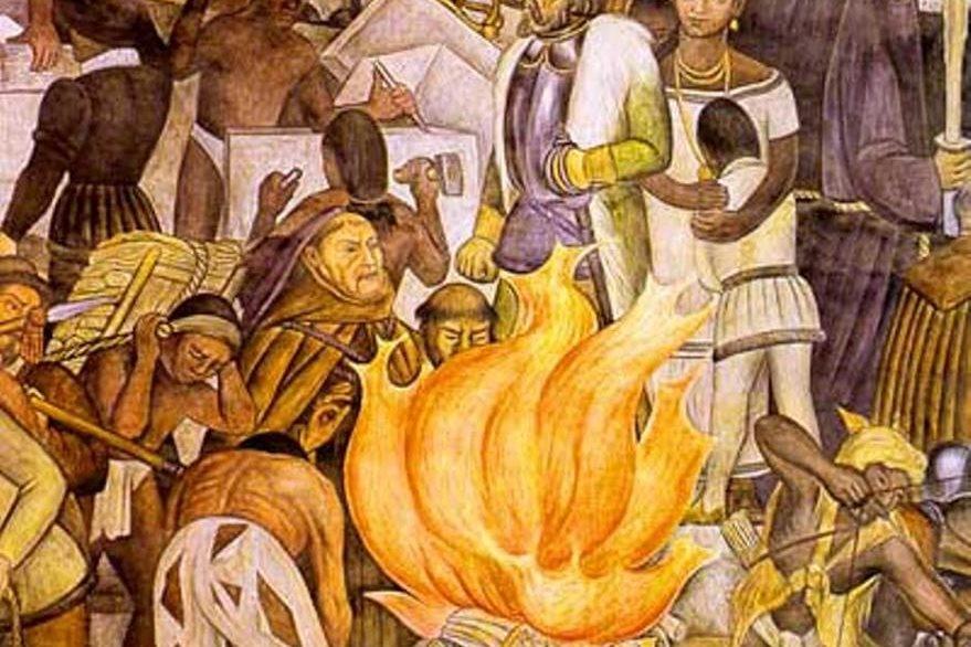 Mural de Diego Rivera acerca de la quema de los códices.