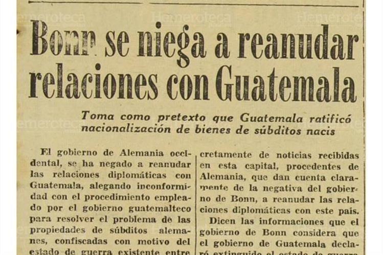 Bonn, capital oriental de Alemnia luego de la división, se negó a restablecer relaciones con Guatemala, en diciembre de 1956.