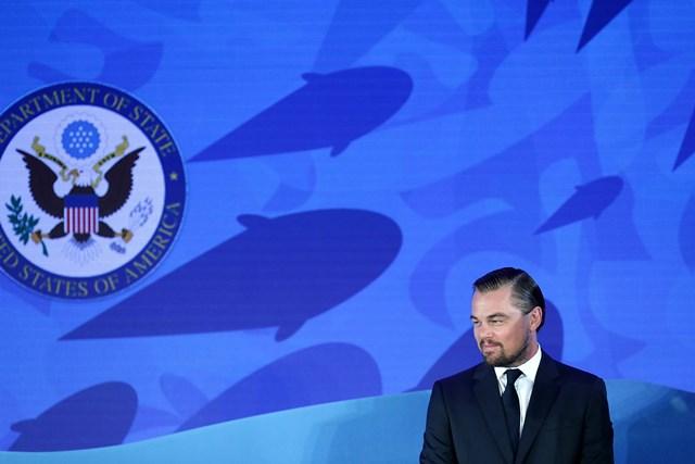 DiCaprio, durante la presentación de la herramienta virtual, en Washington, EE. UU. (Foto Prensa Libre: AFP).