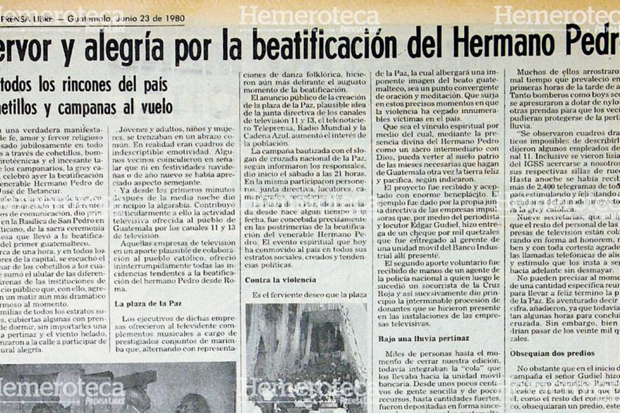 Nota del 23 de junio de 1980, con pormenores de la beatificación del Hermano Pedro en el país. (Foto: Hemeroteca PL)
