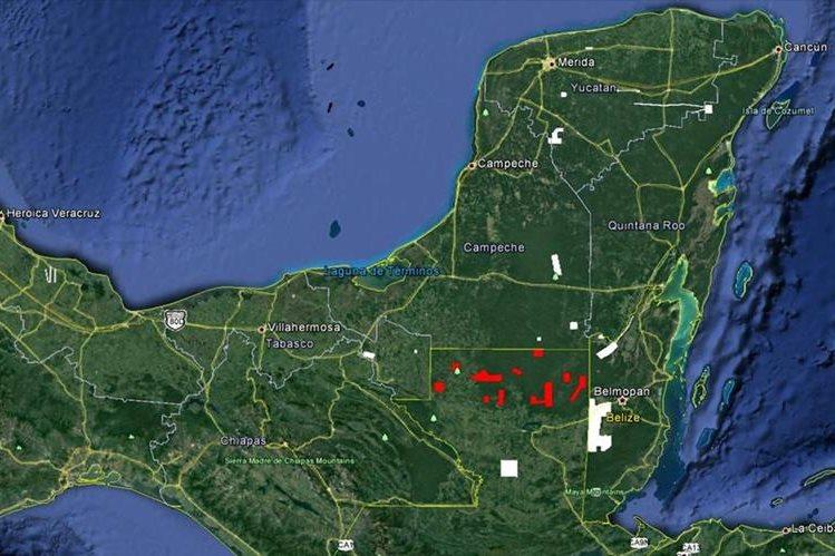 Las áreas marcadas con rojo son las que fueron mapeadas con el sistema LiDAR. (Foto Prensas Libre: NCALM)