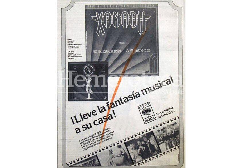 Anuncio del 11 de febrero de 1981 en la que se publicitaba la banda sonora de la película Xanadú. (Foto: Hemeroteca PL)