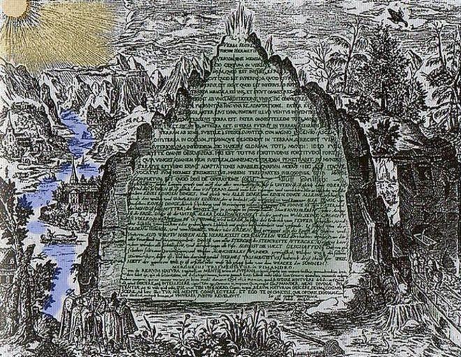 Dicen que estaba escrita en esmeralda o cristal o roca verde. Así se la imaginó en el siglo XVII el físico, alquimista y filósofo hermético alemán Heinrich Khunrath. CREATIVE COMMONS