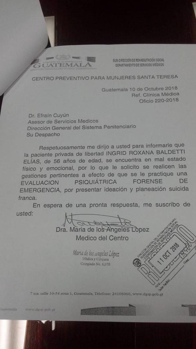 Baldetti tiene tendencia suicida detalla informe. (Foto Prensa Libre: Cortesía)