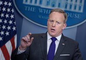 Sean Spicer, portavoz presidencial en conferencia de prensa diaria.(AFP).