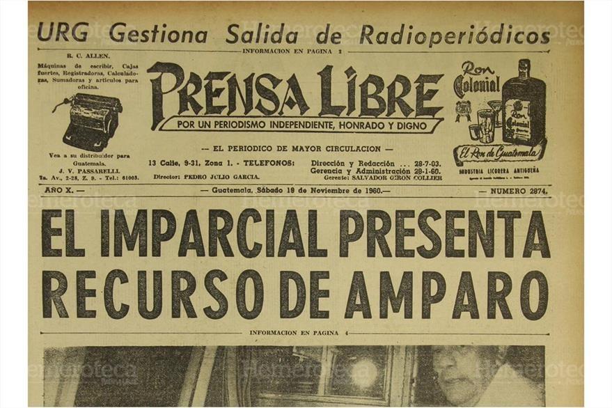 19/11/1960 El diario El Imparcial presenta recurso de amparo debido a la suspensión del periódico. (Foto: Hemeroteca PL)