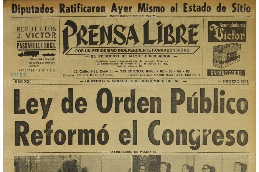Portada de Prensa Libre del 14/11/1970  dio  a conocer sobre  suspensión de las garantías. (Foto: Hemeroteca PL)