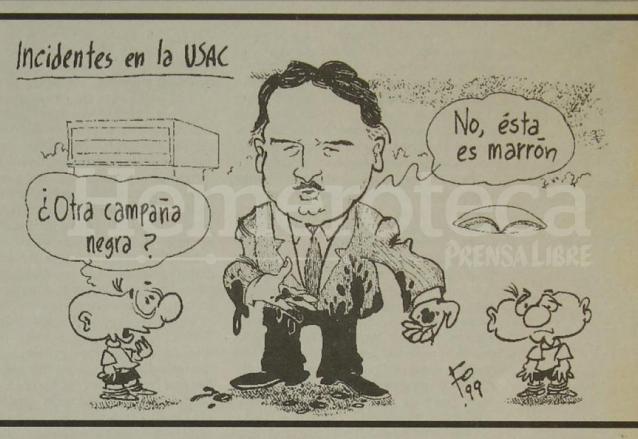 La caricatura de Fo puso la sátira a la noticia del Foro presidencial de la USAC. (Foto: Hemeroteca PL)