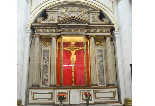 Retablo Neoclásico del Cristo de Esquipulas del Templo El Carmen, zona 1. (Foto: Néstor Galicia)