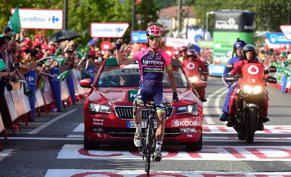 Valerio Conti de Lampre-Merida ganó la etapa 13 de la Vuelta a España. (Foto Prensa Libre: AFP)