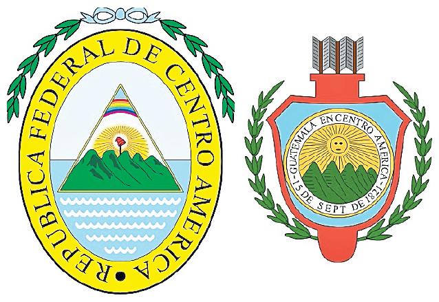 A la izquierda: Escudo de la República Federal de Centro América (1825-1842), derecha: Escudo del Estado de Guatemala (1843-1851). (Foto: Hemeroteca PL)