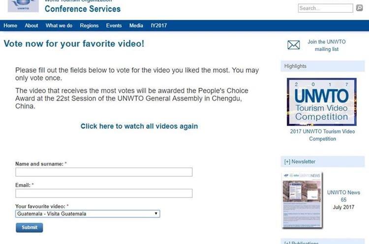 Muestra de la pantalla de la página electrónica de la OMT en la cual se puede observar el video y votar. (Foto, Prensa Libre: OMT)