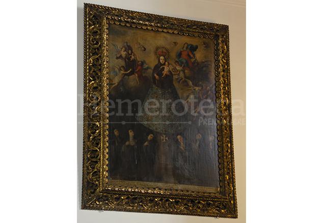 Cuadro de Tomás de Merlo que representa la fundación del monasterio de Madres Capuchinas Recoletas. (Foto: Néstor Galicia)