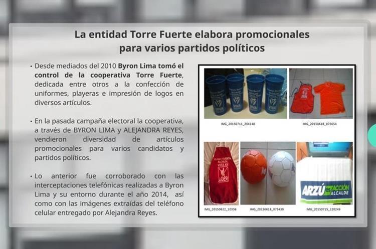 Artículos de propaganda política que la cooperativa Torre Fuerte suministró a varios partidos y candidatos, entre ellos Álvaro Arzú. (Foto Prensa Libre: Cicig).