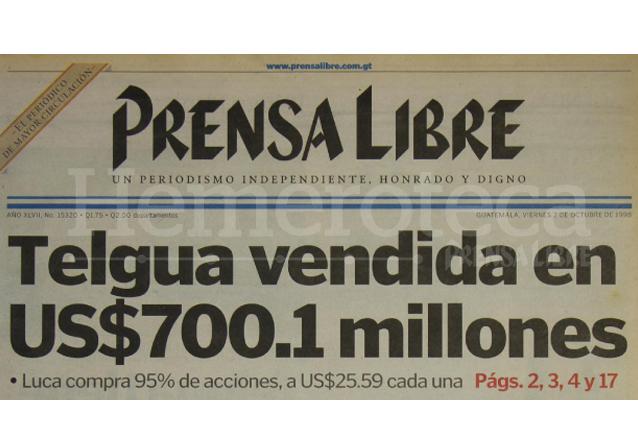 Titular de Prensa Libre del 2/10/1998. (Foto: Hemeroteca PL)