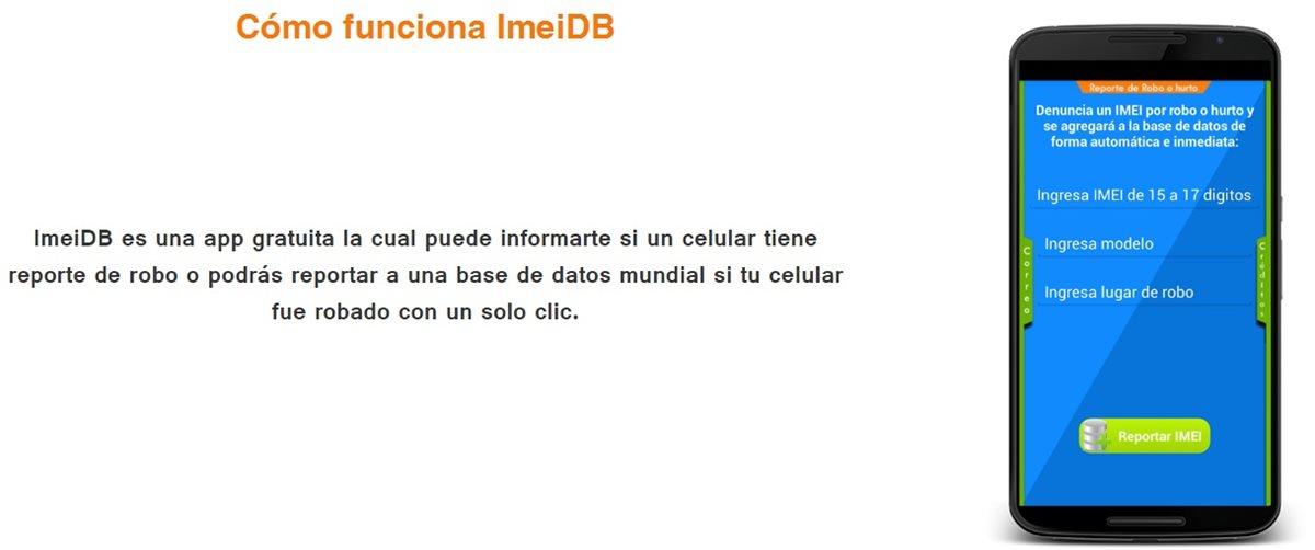 Al ingresar el dato requerido la aplicación ImeiDB muestra en la pantalla si el celular tiene reporte de robo en la SIT o en las operadoras de  teléfono.