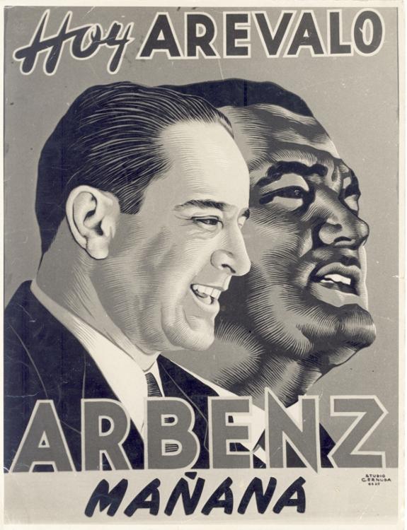 Propaganda electoral promocionando al candidato Jacobo Árbenz Guzmán. (Foto: CIRMA)