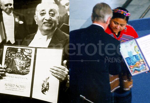 Asturias y Menchú, dos guatemaltecos laureados con el Nobel. (Foto: Hemeroteca PL)