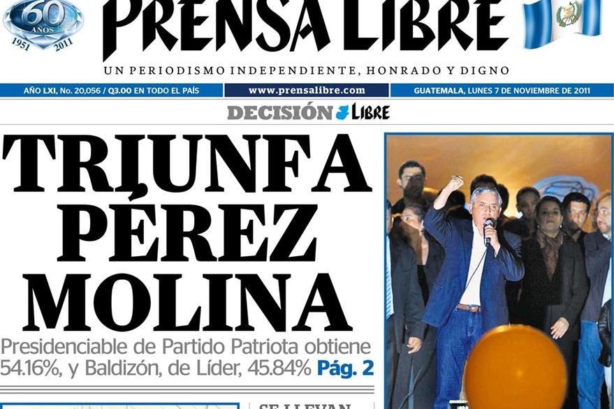 Portada 7/11/2011 de Prensa Libre  donde se anuncia el triubfo de Otto Pérez Molina. (Foto: Hemeroteca PL)