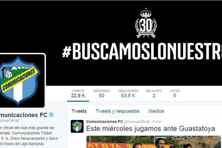 """El Twitter de Comunicaciones luce el """"Cheque Azul"""" de verificación. (Foto Prensa Libre: Twitter CremasOficial)"""