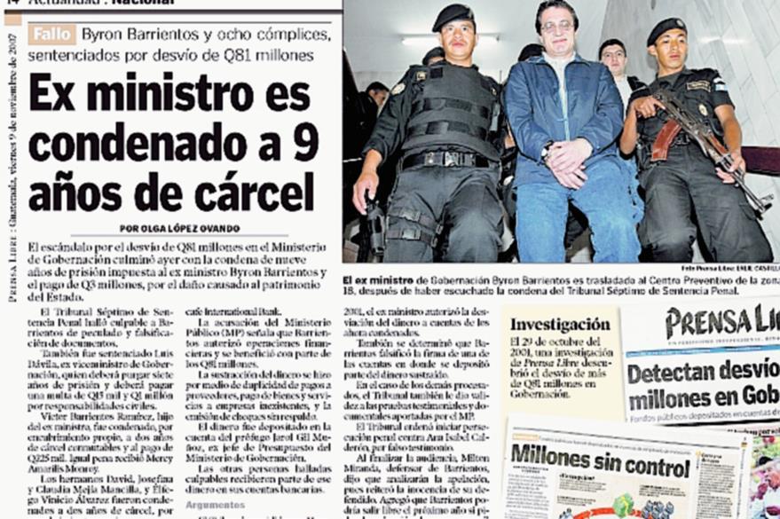 Byron Barrientos fue condenado por el desvío de Q81 millones en Gobernación durante el gobierno de Alfonso Portillo. (Foto: Hemeroteca PL)