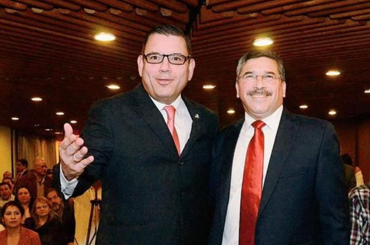 Manuel Baldizón y Édgar Barquín, precandidatos a la presidencia y vicepresidencia de Líder en 2015. (Foto Prensa Libre: Hemeroteca)