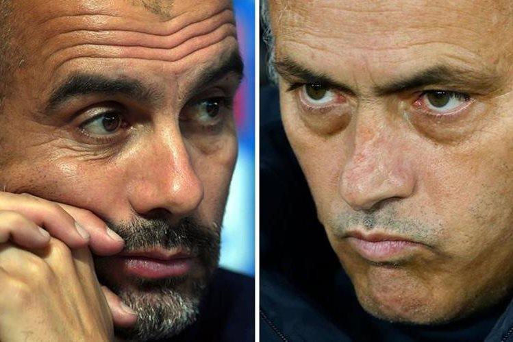 Pep Guardiola y José Mourinho se enfrentarán este fin de semana en la Premier League. (Foto Prensa Libre: AFP)
