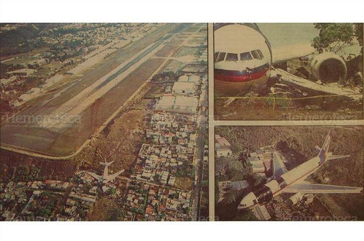 Unas 200 viviendas de las colonias La Libertad y Santa Fe estuvieron en peligro de ser arrasadas, luego que un boeing 767 de la compañía TACA se accidentara. 6/4/1993. (Foto: Hemeroteca PL)
