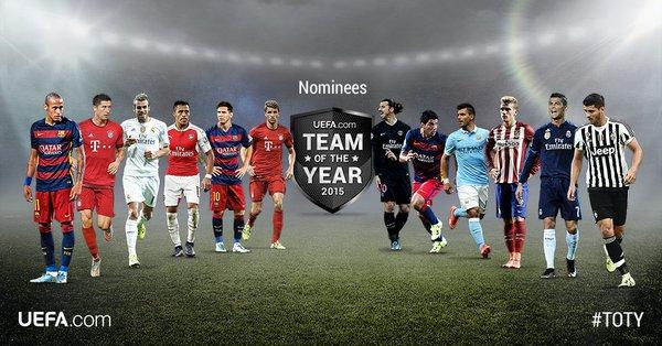 Son 40 jugadores los que están nominados para el once ideal. (Foto Prensa Libre: UEFA.COM)