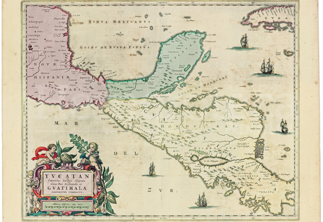 """Mapa de Guiljelmus Blaeu(1571–1638) donde se definen las fronteras de la Capitanía General de """"Guatimala"""". Mapoteca de la Universidad Francisco Marroquín. (Foto: Hemeroteca PL)"""