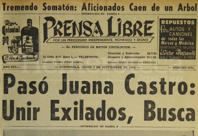 Titular de Prensa Libre del 7 de septiembre de 1964. (Foto: Hemeroteca PL)