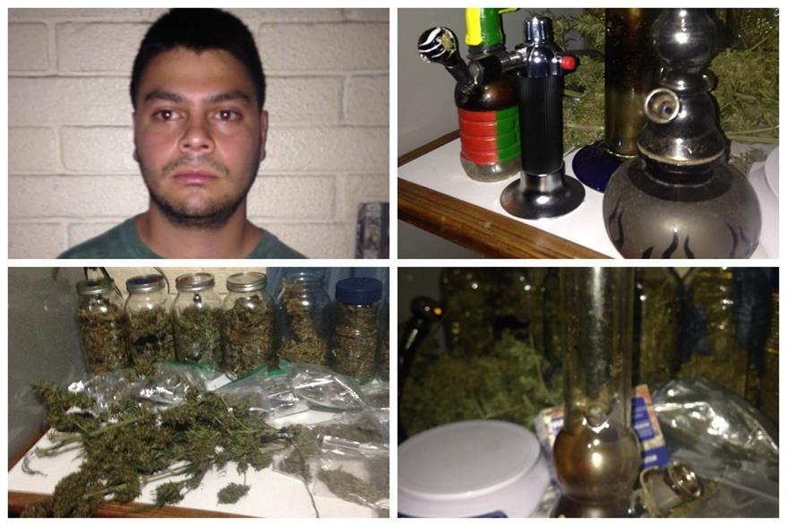 Luis Marroquín, alias Tapo, y supuesta marihuana e instrumentos para procesarla, incautados por el MP en el allanamiento. (Foto Prensa Libre: MP)