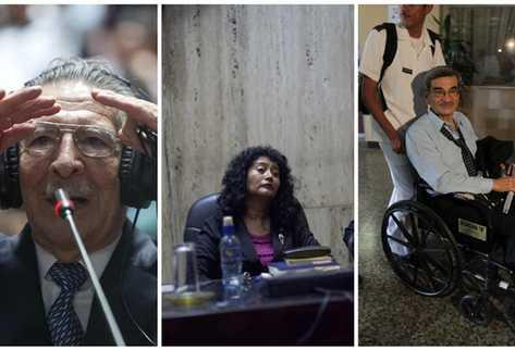 Militar Efraín Ríos Montt, jueza Jazmin Barrios y militar Mauricio Rodríguez.