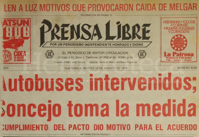 Titular del 15 de agosto de 1978 donde se informaba del conflicto del transporte urbano. (Foto: Hemeroteca PL)