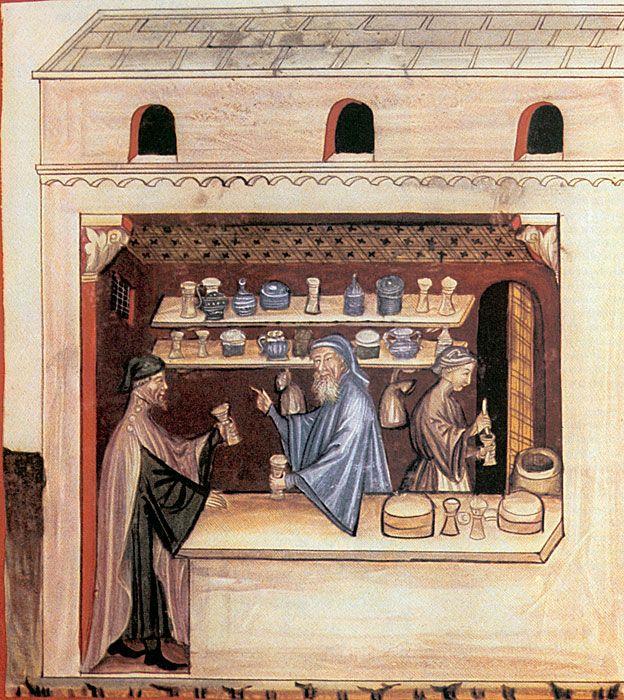 Una farmacia italiana del siglo XIV en la que un farmaceuta dispensa triaca, en ese entonces hecha con 100 ingredientes. SCIENCE PHOTO LIBRARY