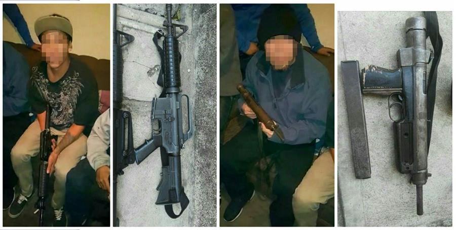 Pandilleros que aparecen en el video muestran las armas que posteriormente fueron decomisadas en la zona 21. Foto Prensa Libre: PNC