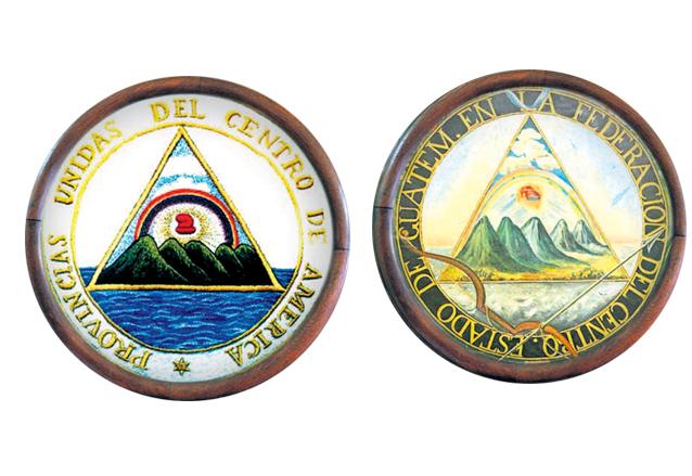 Izquierda, escudo de las Provincias Unidas del Centro de América de 1823. Derecha: escudo del Estado de guatemala en la Federación Centroamericana. (Foto: Hemeroteca PL)