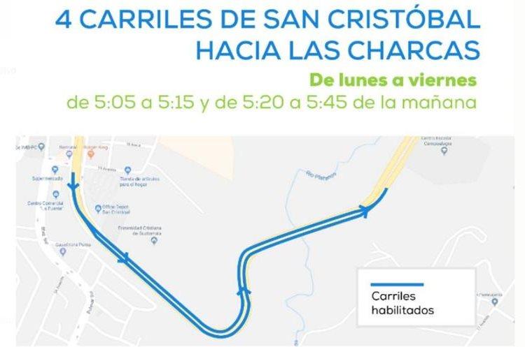 Las autoridades de Tránsito de Mixco publican información sobre las modificaciones de carrieles en el bulevar San Cristóbal, zona 8 de Mixco. (Foto Prensa Libre: Tomada de Facebook Tránsito Mixco)