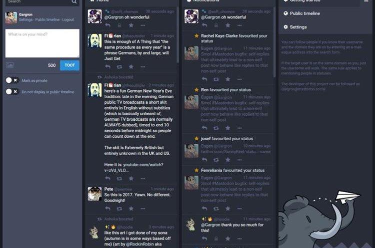Vista de una de las columnas de visualización de la nueva red social Mastodon. (Foto Prensa Libre: Mastodon)