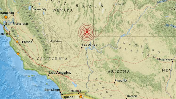 Ubicación del sismo que sacudió hoy el estado de Nevada, EE. UU.