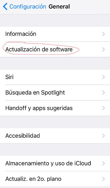 Visualización de la Configuración y el apartado al cual se debe acceder para instalar iOS 10.