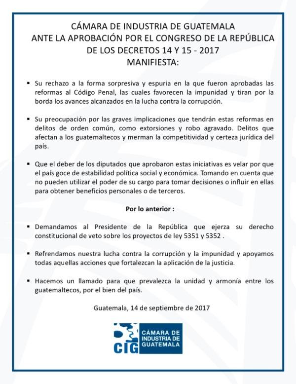 Comunicado de la Cámara de Industria de Guatemala. (Foto Prensa Libre: CIG).
