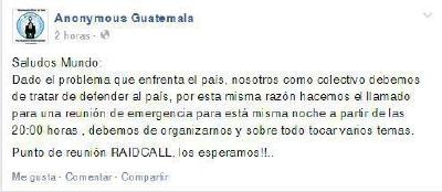 Invitación a través de Facebook de Anonymous. (Foto Prensa Libre: Facebook)