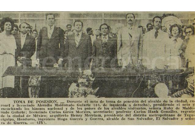 Aspecto de la ceremonia de toma de posesión del nuevo concejo municipal de Guatemala presidido por Abundio Maldonado el 15 de junio de 1978. (Foto: Hemeroteca PL)