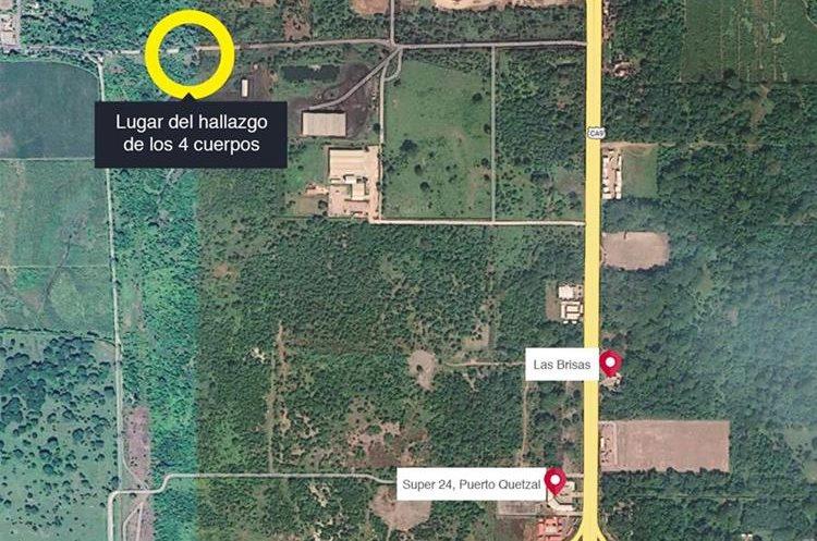 Lugar en el que fueron hallados los cuatro cuerpos carbonizados, en el parcelamiento Arizona, Puerto San José, Escuintla.