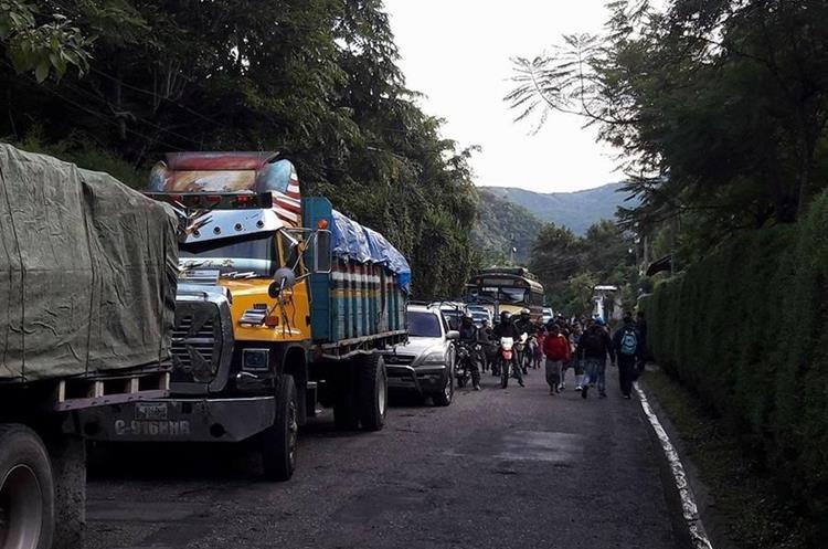 Largas filas de vehículos se formaron por un árbol que impidió el paso en la ruta. (Foto Prensa Libre: Ángel Julajuj)