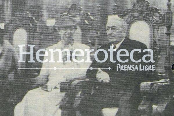 Eleanor Roosevelt y el General Jorge Ubico se reunieron en la Casa Presidencial. Foto de la década de los años treinta.